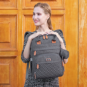 diaper bag backpack - Diaper Bag Backpack, BabbleRoo Baby Nappy Changing Bags Multifunction Waterproof Travel Back Pack With Changing Pad & Stroller Straps & Pacifier Case, Unisex And Stylish (Dark Gray)
