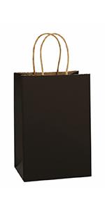 """BagDream 5.25x3.75x8"""" Black Paper Bags 25PCS"""