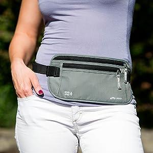 Waterproof Slim Fanny Pack - Money Belt for Men and Women - Travel belt Money Passport Black or Grey