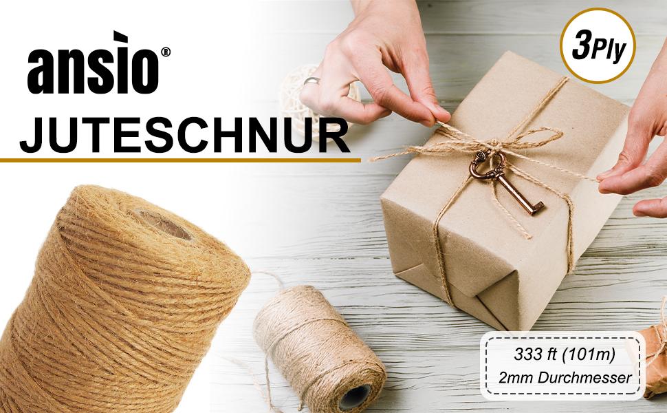 Jute-Seil fur Verpackung Dekoration ANSIO Juteschnur 333 Fu/ß Jute-Bindfaden 3-f/ädig 2 mm dick Anbinden von Pflanzen Kunst /& Kunsthandwerk 3 Rolle- Natur Braun Garten
