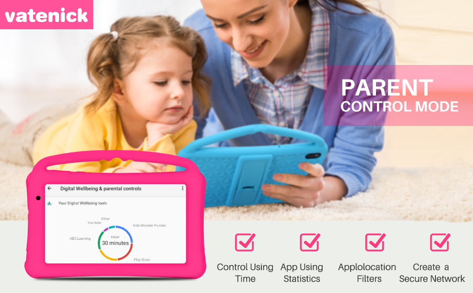 best tablet for kids - Kids Tablet 7 Inch IPS HD Display QuadCore Android 10.0 Pie Tablet PC For Kids - GMS Certificated Dual Cameras 2GB RAM 32GB ROM WiFi With Handheld Kids-Proof Silicon Case For Kids Educational (Pink)