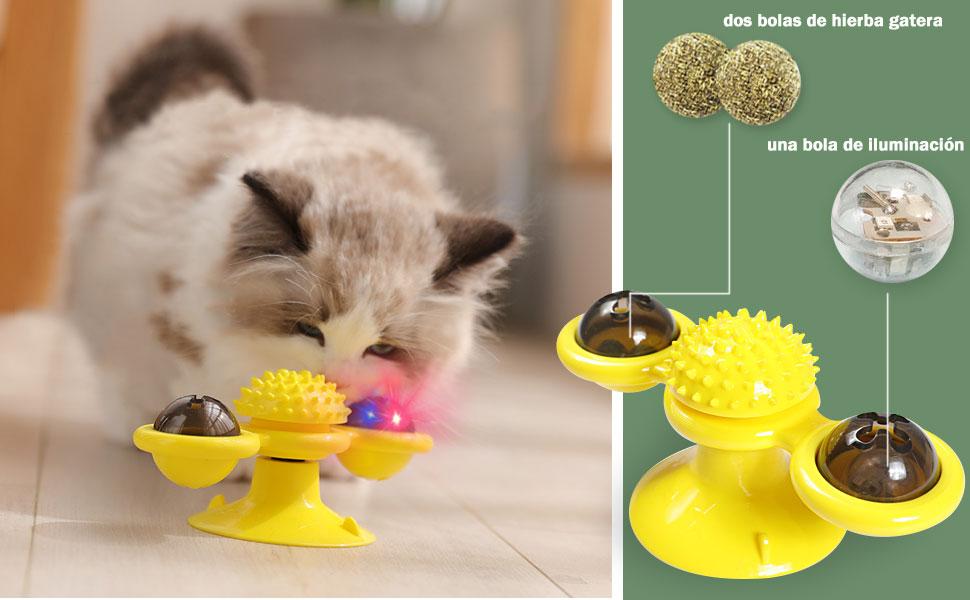 OneBarleycorn - Juguetes para Gatos,Windmill Cat Toy, Cepillo de pelo para gatos rascadores y cosquillas, Juguete interactivo de burlas giratorias para gatos, Juguete rascador de cosquillas para gatos: Amazon.es: Productos para mascotas