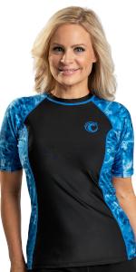 women swim rashguard shirt uv protection plus adult sun upf aqua short sleeve swimsuit athletic