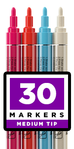 Acrylic paint pens for rocks, glass, stone, ceramic, fabric. Set of 30 Paint Markers Medium tip