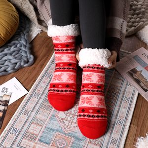 Winter Christmas sock Non Slip Fleece Lined Slipper Socks for Ladies