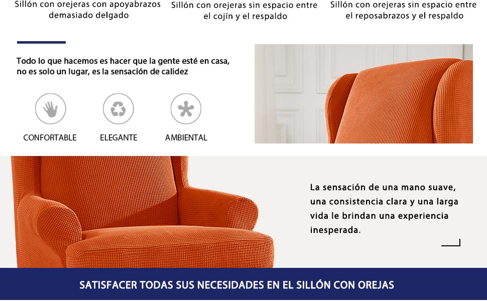 subrtex Funda de Sillón Orejero Elástica Funda para Sillones ...