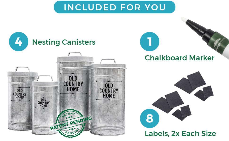 Rustic Kitchen Canisters Set by Saratoga Home Labels and Chalk Marker Included