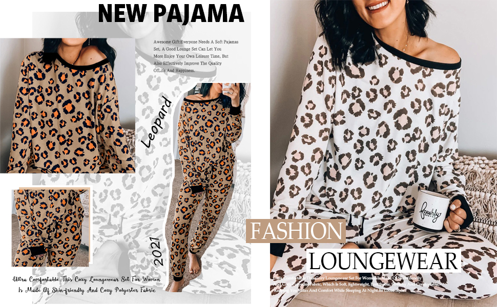 Two Piece Pajamas Set Leopard Print Long Sleeve Tops with Drawstring Pants