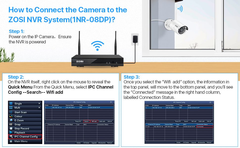 Connect Camera to the NVR