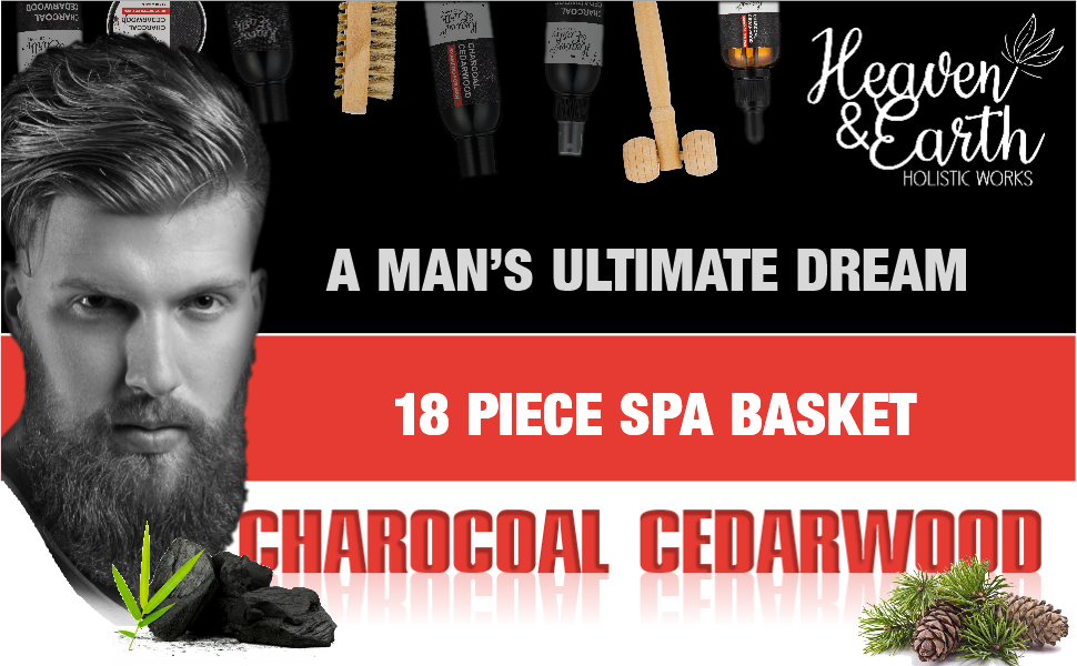 cedarwood charcoal men's spa basket