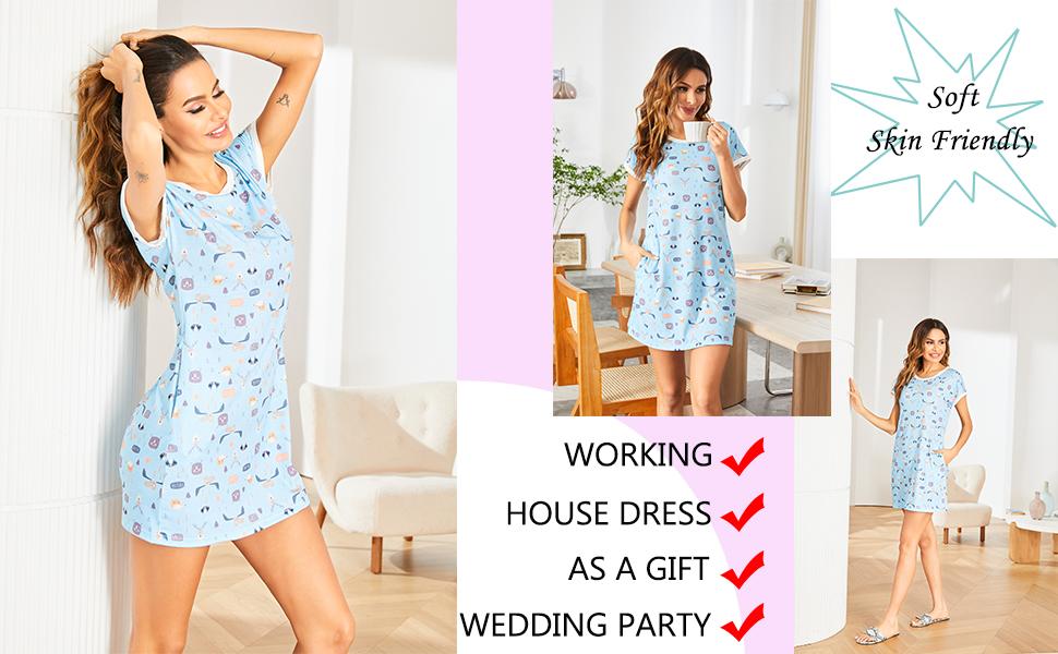 Ekouaer Women Soft Nightshirt Short Sleeve Pajama Dress