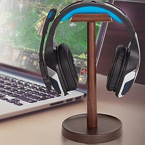 walnut wood headphone stand