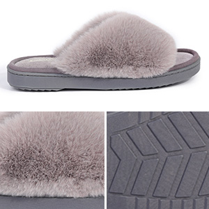 Snug Leaves Womens Fuzzy Memory Foam Slippers Faux Fur Lined House Shoes