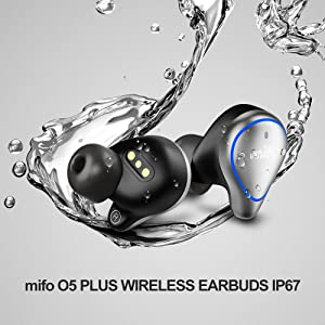 mifo O5PLUS wireless earbuds IPX7 Waterproof, Stereo sound, Perfect for Sports & Business trip.