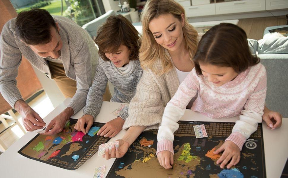 zdrapywanie mapa świata plakat podróż biuro prezenty sztuka ścienna wydruki prezenty tata pary aktywność dziecko