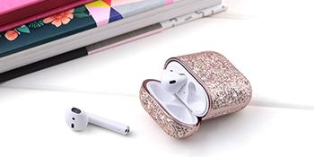 Airpod case luxury glitter sparkly blingbling leather case best gift for girls women kids teens men