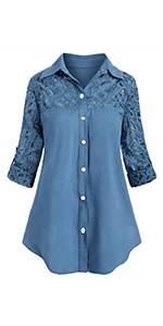 Nanxson Mujer Camisa Manga Larga Blusa Volantes Botón ...
