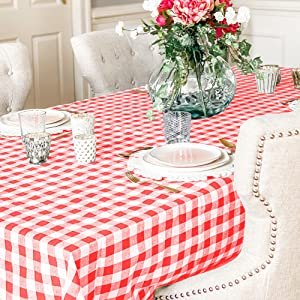 Cotton tablecloth red and white