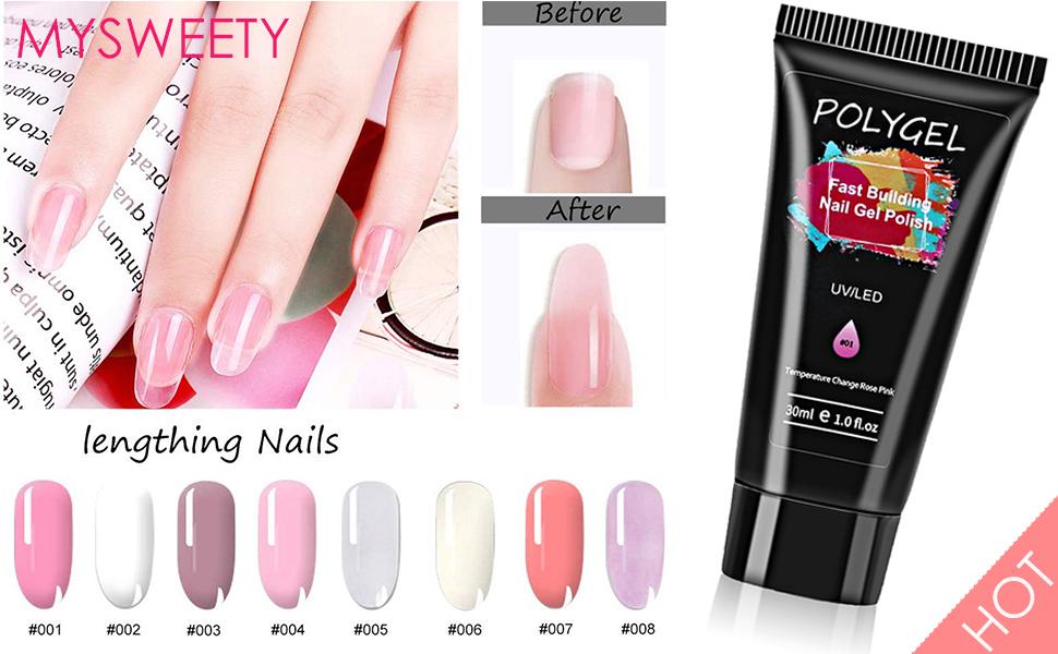 Poly Gel Para Uñas Kit Mysweety 8 Color Rosa Blanco Polygel Para Pintauñas Esmalte Con Capa Superior Y Capa Base Utensilios 100 Piezas Uña Falsa