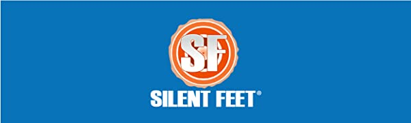 """Large blue banner with a circular orange logo with """"SF"""" in the center and """"Silent Feet"""" below."""