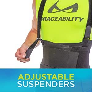 the adjustable suspender straps can be removed