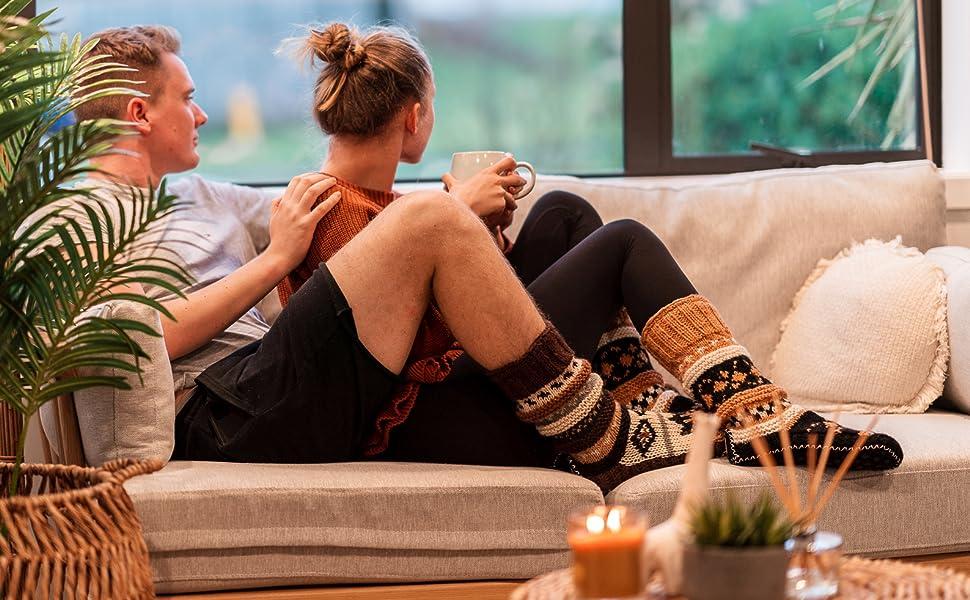 Tibetan Hand Knit Wool Fleece Lined Long Slipper Socks Cozy Winter Booties