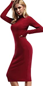 Yesfashion mock turtleneck bodycon long party dress