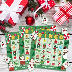 Fête de Noël Bingo Game fun pour toute la famille dîner de noël jour de jeu
