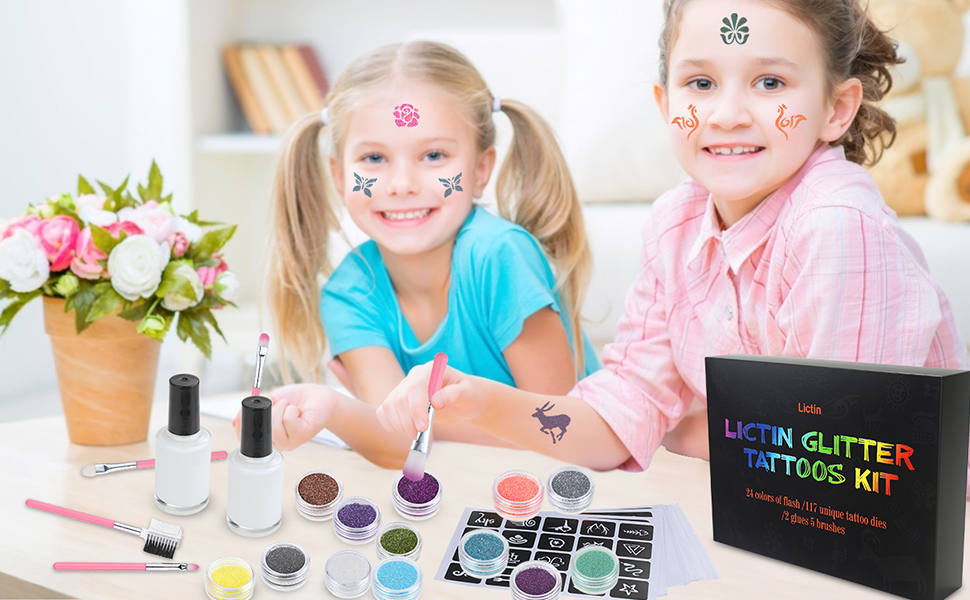 Lictin Kit de Tatuajes Temporales-Tatuaje de Brillo con 24 Colores ...