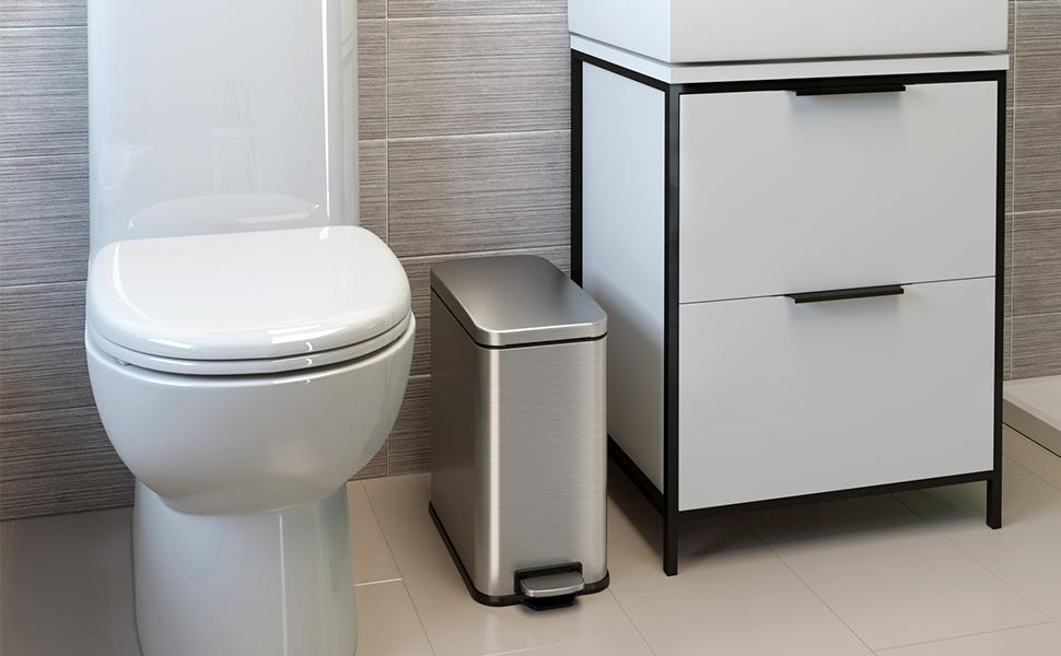 bathroom trash can Stainless steel simple human bin garbage best office waste office home recycle