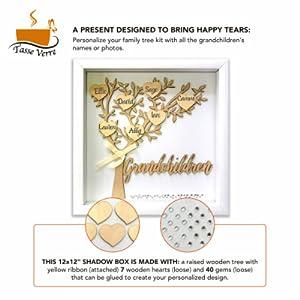 grandparent grandchildren shadow box contents hearts and gems white best gift for grandparent nana