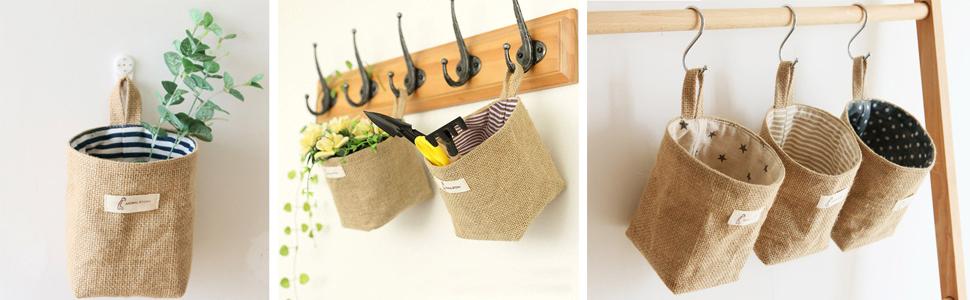 Mini Hanging Storage Bag Linen Fabric Small Organizer Storage Basket Decor Bin Bag