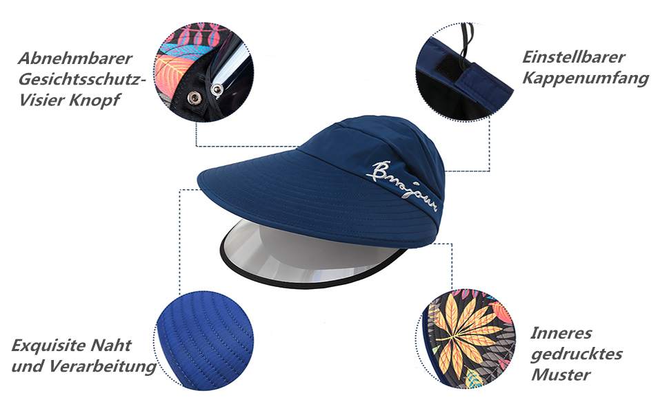 FEOYA Sonnenhut Damen Outdoor Radfahren Sommerhut Sonnenschutz Hut Einstellbar Breiter Krempe Gesichtsschutz Schutzhut mit Abnehmbar PVC Visier
