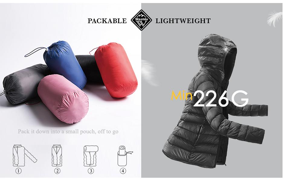 Women's Packable Long Down Jacket