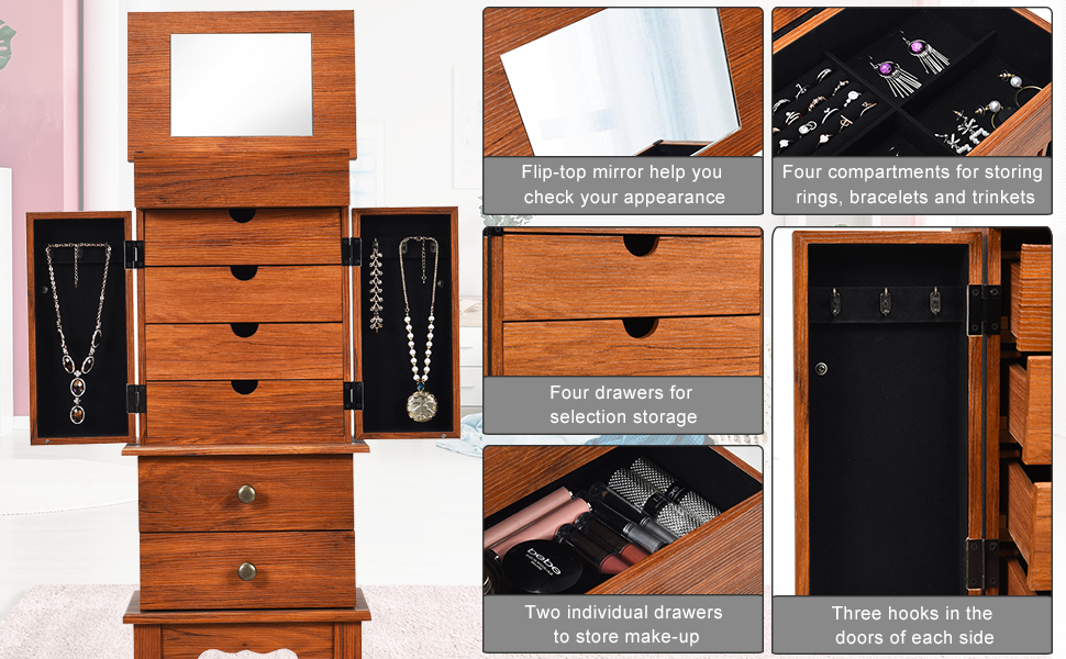 Vintage Jewelry Chest Storage with Top Flip Makeup Mirror