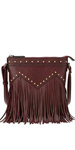 crossbody purse, vegan leather, fringe, boho chic, bohemian, studded, purse, festival look