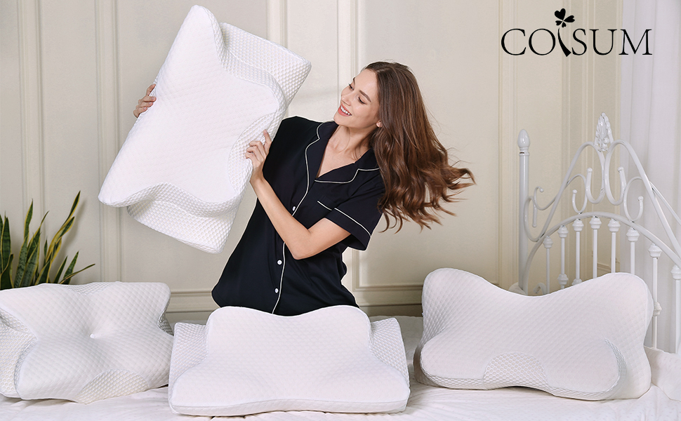 Contour Pillow and Hypoallergenic Pillowcase for Neck and Shoulder Pain