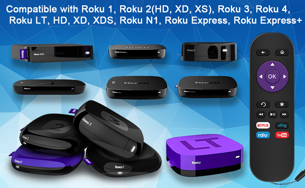 XD XDS Roku LT HD Gvirtue Replacement Remote Control for Roku Box Model: Roku 1 Roku 2 HD, XD, XS Roku Express Roku Express+ Roku 3 Roku N1
