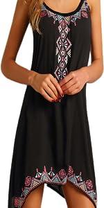 Women Summer Boho Sleeveless Mini Dress