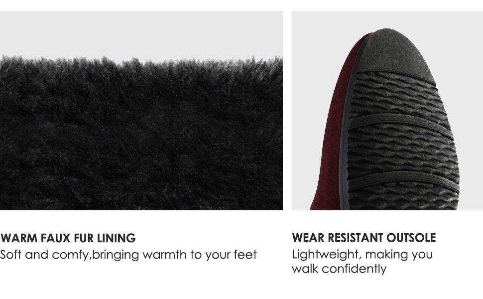 Warm faux fur lining and wear resistant outsole