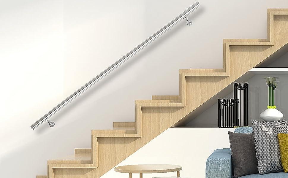 aus V2A Edelstahl zur einfachen Befestigung an der Wand /Ø 4,2 x 130 cm lang Melko gerader Handlauf Treppengel/änder f/ür Innen und Au/ßen