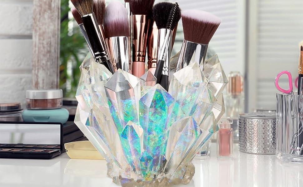 Crystal makeup brush holder on desk