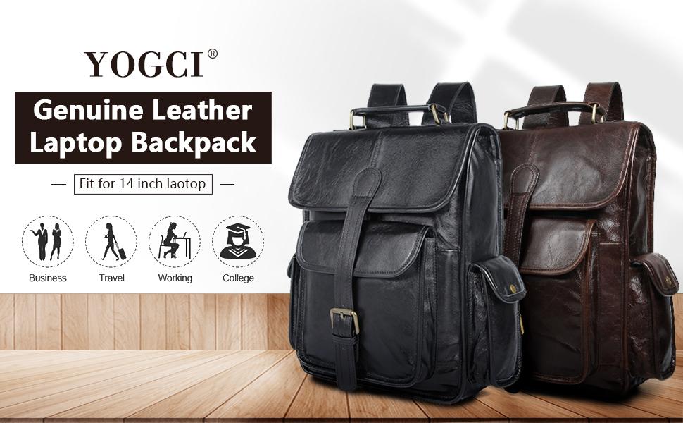 YOGCI leather backpack black