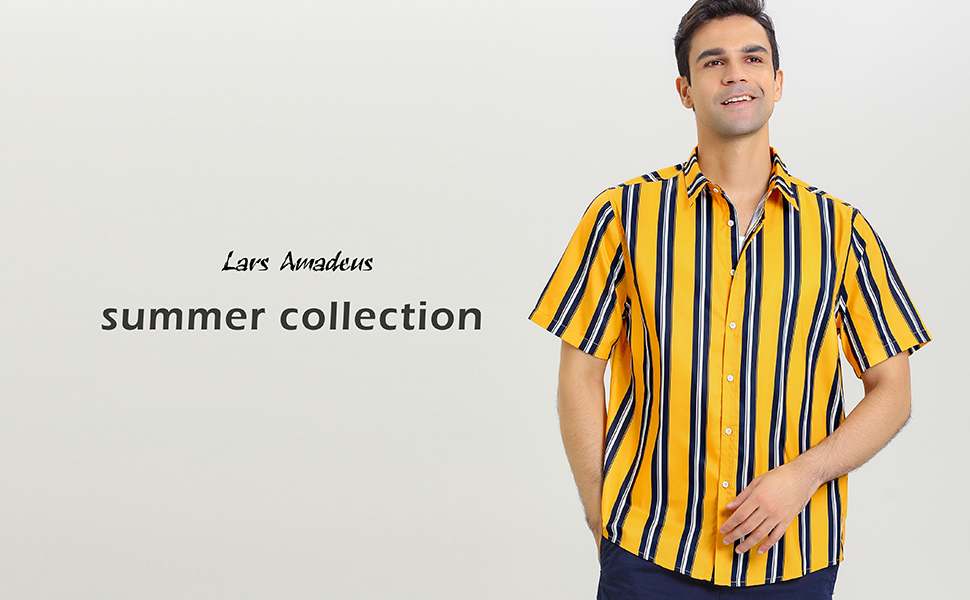 Lars Amadeus Men's Summer Striped Shirts Short Sleeves Button Down Beach Color Block Shirt