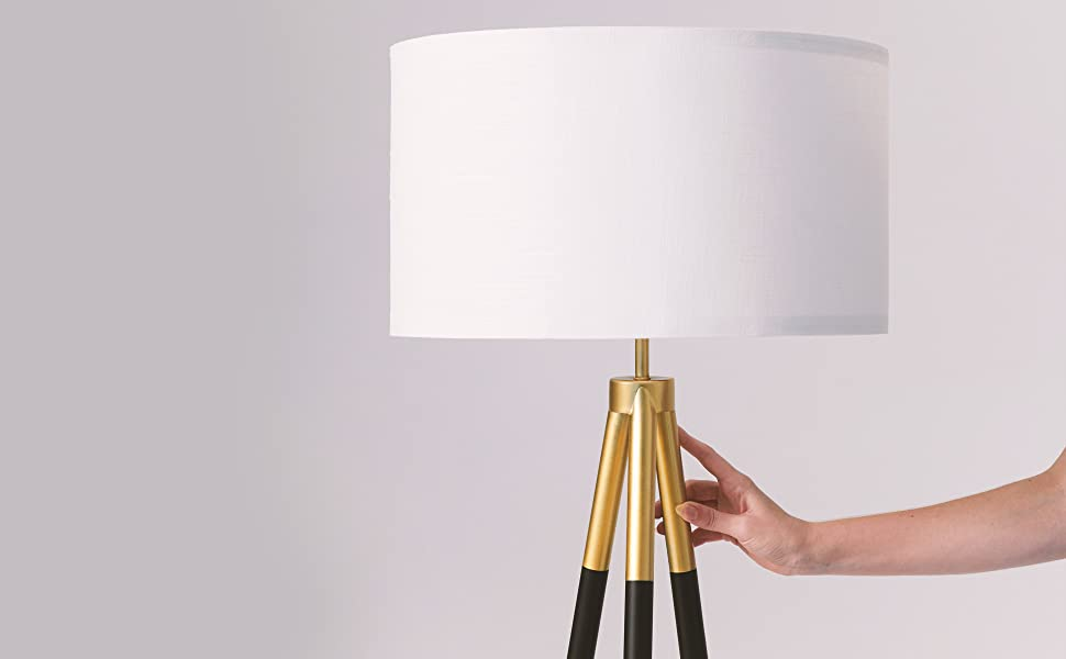 Brightech Levi - Black and Gold Tripod Floor Lamp for Living Rooms