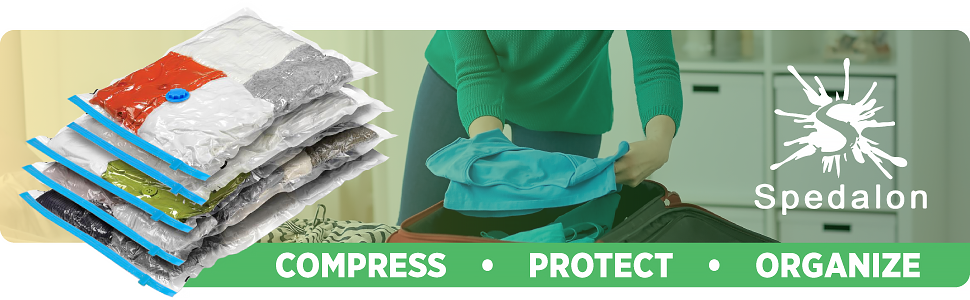 Spedalon Vacuum Storage Bags - Pack of 9 (3 Large + 3 Medium + 3 Small) Reusable with Free Hand Pump