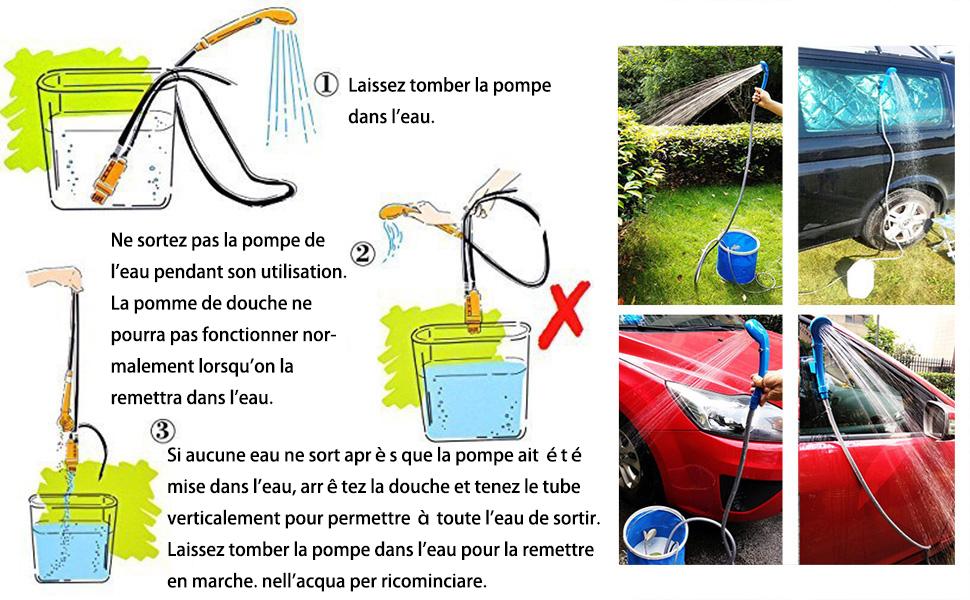 CARCHET/®Douche de Camping,Randonn/ée Douchette Portable Kit 12V Outdoor Voyage Voiture Moto Chaussures Chien douche Jaune