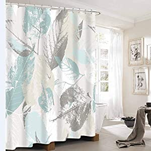 72 x 72 Thick Heavy Duty Fabric Bathroom Shower Curtain Set with Hooks No Chemical Odor Rust-Resistant Grommet Holes Modern Home Decorations Teal Eucalyptus Leaf Shower Curtain with Metal Hooks