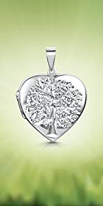 Amberta 925 Sterling Silver - Various Types - Opening Locket for Women - for Birthstone Charm  Photo