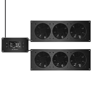 AC Infinity AIRPLATE T9 Quiet Cooling Dual-Fan System Thermostat Control Home Theater AV Cabinet